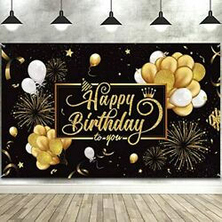 Happy Birthday Backdrop Banner Large Black Gold Balloon Star Fireworks Party For $18.78