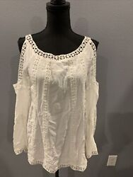 Anthropologie Luna Moon Cold Shoulder Ivory Top Crochet Lace Boho Size XS $22.99
