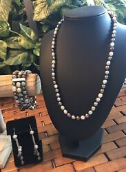 "Honora Pearl Winter Colors 20"" Oval Necklace Wide Bracelet amp; Drop Earrings 925 $45.00"