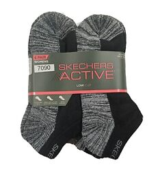 Womens Socks Low Cut Cushioned Sole SKECHERS ACTIVE 6 Pack Shoe Size 5 9.5 $16.95