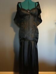 LIP SERVICE Hot Topic Gothic Black Satin Dress Gown New Never Worn Women Size M