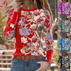 Women Crew Neck Casual Tops Long Sleeve T Shirt Floral Loose Blouse Tunic $16.09