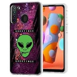 Clear TPU Phone Case Samsung Galaxy A21Alien Smoking Weed PrintSoft Cover $13.98