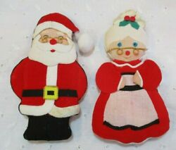 DARLING VINTAGE MR amp; MRS SANTA STUFFED CHRISTMAS DECORATIONS 5quot; x 2.75quot; $13.24