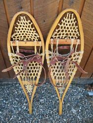 GREAT VINTAGE Snowshoes 32quot; Long x 10quot; with Leather Bindings For DECORATION $49.14