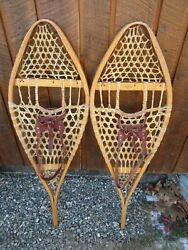 INTERESTING VINTAGE Snowshoes 42quot; Long x 13quot; Leather Bindings For DECORATION $48.97