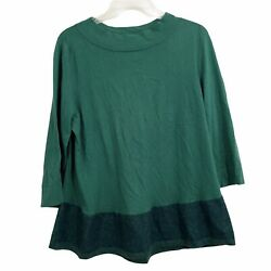 Angel of the North Womens size Large Green Ombre 3 4 Sleeve Tunic Sweater $10.59
