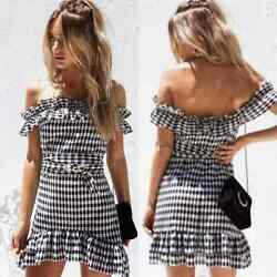 Sabo Skirt Ailey Gingham Off Shoulder Ruffle Dress $60.00