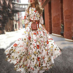 Women Half Sleeve Boho Dresses Swing Floral Printed Holiday Maxi Pleasant Dress $17.10