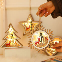 LED Wooden Lamps Star Heart Round Tree Shape Battery Powered Decorative Night $12.86