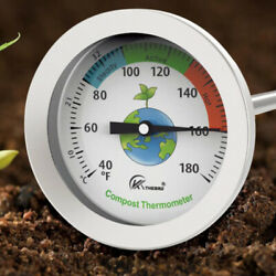 1pc 50cm Stainless Steel Compost Soil Thermometer Celsius Measuring Garden $11.58