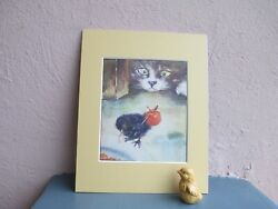vintage illustration of cat watching little chick by L.A. Govey 1938 $16.50