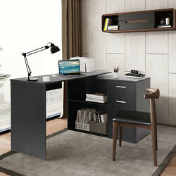 360° Rotating Corner Desk and Storage Shelf Combo L Shaped Table Home Office US $138.88