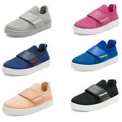 Boys Girls Sneakers Hook Loop Strap Lightweight Knit Casual Shoes $12.99