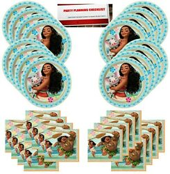 Disney Moana Birthday Party Supplies Bundle Pack for 16 Guests Plus Party Pl... $14.88