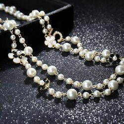 Party Women Long Pendants Layered Pearl Necklace Collares de Moda Number5 Flower $8.64