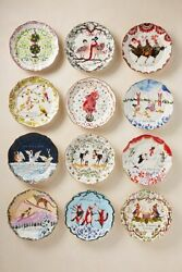 Anthropologie Inslee Fariss Twelve 12 Days Christmas Dessert Plate You Pick New $89.99