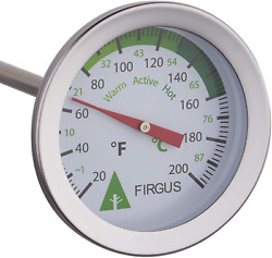 Firgus Compost Thermometer with 20 Inch Soil Probe for Backyard Composting Stain $26.01