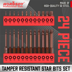 24Pc Security Torx Bit Tamper Resistant Star Set S2 Steel 1quot; amp; 2.3quot; Long T5 T40 $9.59