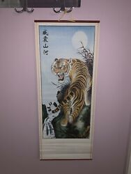 Chinese Bamboo Wall Art Wall Scroll Tiger Asian Decor 31x12.5 $22.00