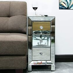 3 Drawer Mirrored Nightstand Modern End Table for Bedroom Living RoomSilver $83.99
