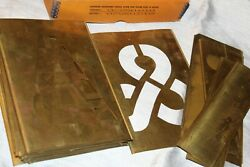 Vintage Box Reese#x27;s Brass Stencils Complete 6quot; Sign Making Art Crafts $29.00