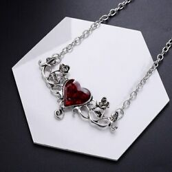 Gothic Red heart with wings love Pendant Necklace