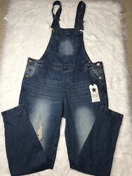 Vanilla Star Womens Denim Overalls Size XL Destroyed Distressed NWT NEW $24.99