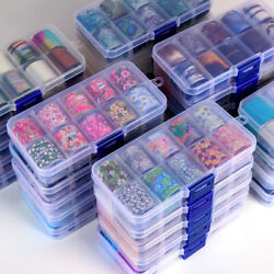 10 Rolls Holographic Nail Art Transfer Foil Sticker Flower Starry AB Paper Wraps $2.99