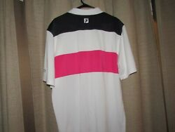 NWOT new FOOT JOY FOOTJOY mens large golf polo shirt white pink blue stripe $25.00