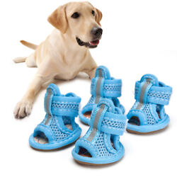 4pcs Summer Breathable Pets Dog Boots Mesh Sandals Dog Shoes Anti slip Sneakers $8.69