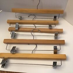 Set of 5 wooden pant skirt hangers $12.03