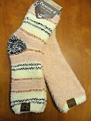 BEARPAW COZY CREW SLIPPER SOCKS 2 PAIR PINK amp; MULTI STRIPE WOMENS SOCKS 9 11 $16.29