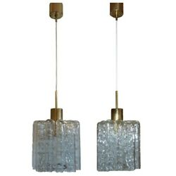 Stunning Pair of 1970s Doria Petite Glass Tube Light Pendant Fixtures Germany $1549.00