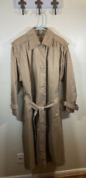 British Mist Trench Coat Tan Gold 20W Detachable Lining Beige Long Plus Size 20 $37.46