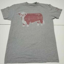 Hereford Bull Lazy J Ranch Wear Mens Next Level Graphic T Shirt Gray Heathered S $9.99