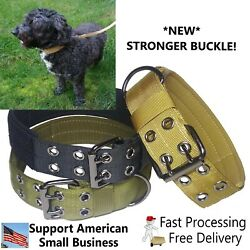 Large Heavy Duty Nylon Dog Collar w NEW Stronger Metal Buckle Tactical Military $9.95