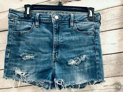American Eagle Womens Cut Off Shortie Shorts Size 10 High Rise Distressed Blue $18.00