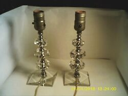 2 Vintage Glass Bedroom Lamps In Working condition No Chips Or Cracks. $20.00