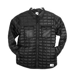 The North Face THERMOBALL ECO SNAP JACKET Black Button Front Mens Small Medium $129.99
