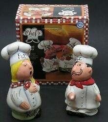 Chefs Collection Italian Chefs Salt and Pepper Shakers by CIB Inc. NEW NOS $8.95