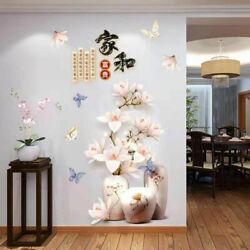 Wall Stickers Chinese Style 3D Large Decor Decal Flowers Vinyl Living Room $24.99
