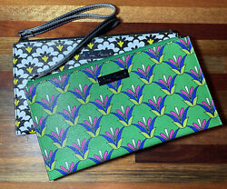 Nice Lot of 2 Vera Bradley Faux Leather Slim Zip Wristlets $30.00