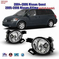 Fog Lights For 05 06 Nissan Altima 04 06 Quest Clear Lens Lamp Switch Wiring Kit $33.88