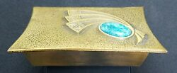 Vintage Mid Century Metal Trinket Box Turqouise Stone Accent Made In Israel 9670 $28.50