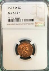 1936 D Uncirculated Wheat Cent NGC MS 66 RB Clean Surfaces Nice Luster $28.00