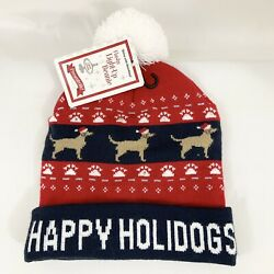 Christmas Novelty quot;Happy Holidogsquot; Light up Beanie with pom pom blue red Dog Pup $22.95