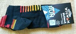 Wigwam Ultimax Ironman mens black L 9 12 socks w red amp; orange accenting $8.00