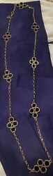 Tory Burch Long Black And Gold Medalion Necklace $32.50