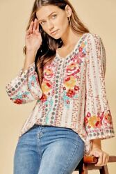 SAVANNA JANE Puff Mid Sleeve Top with Mixed Print and Embroidery Embellishment $59.50